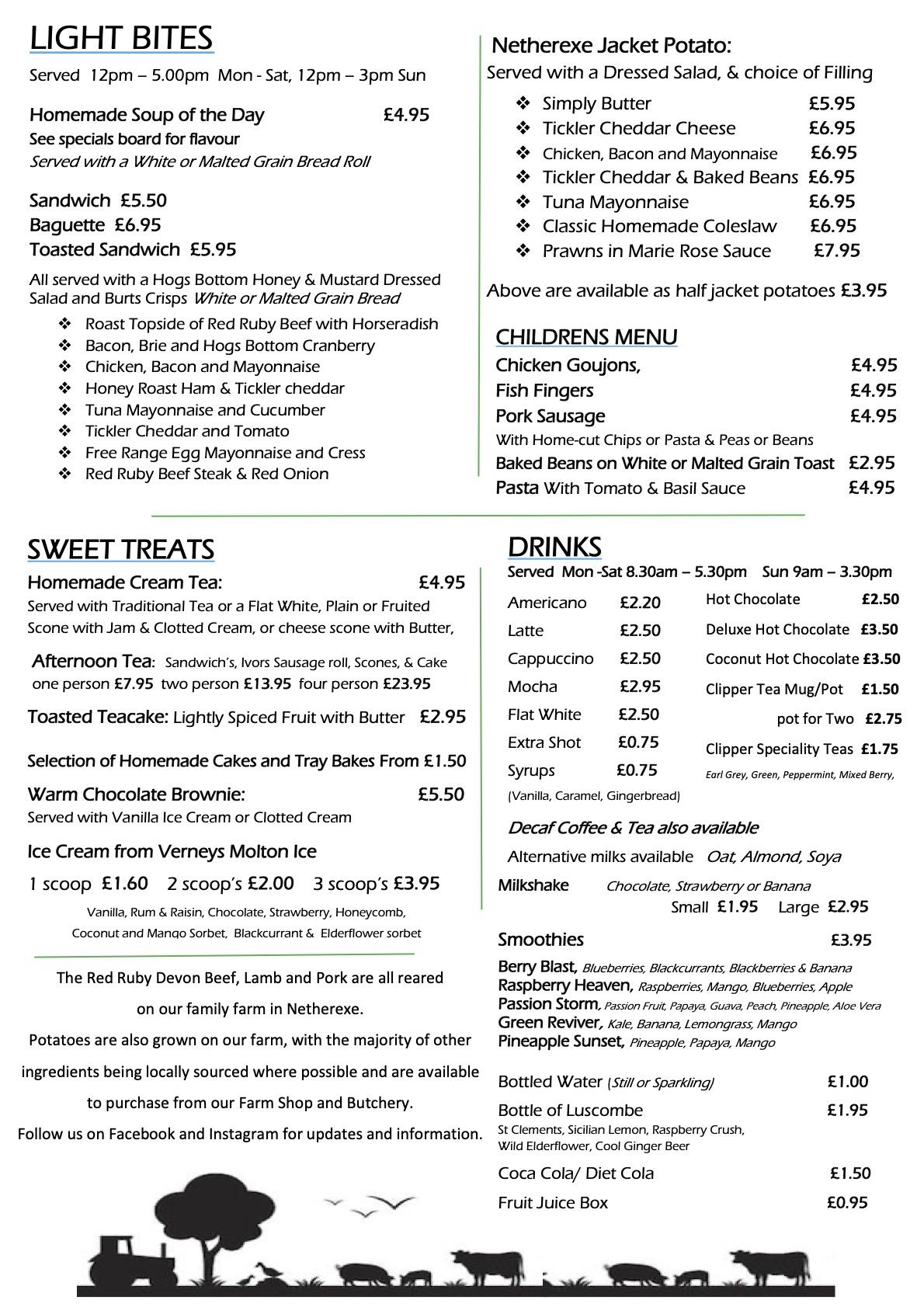 Spring 2021 menu